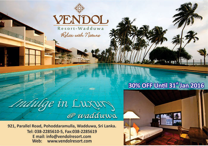 Welcome to a charming and luxurious abode situated in the south western coastal town of Wadduwa, Sri Lanka. Vendol Resort is a luxury resort overlooking the tranquil waters of the Indian Ocean and is the ideal getaway for the discerning traveller who looks for a luxurious and relaxing world away from the hustle and bustle of daily life.  Drive through distinctive entrance in to Vendol's impeccably landscaped the gardens onto the exclusive car porch and walk up to the main building where our friendly and courteous staff welcomes you to the wonderful experience that is Vendol. Take in the views of the beautiful garden and the large infinity pool as you stroll to the main building. Check in to the room of your choice; split level suite overlooking the pool, the garden or the ocean or a suite with its own private plunge pool and delve in to a luxurious and relaxing vacation not to be forgotten.