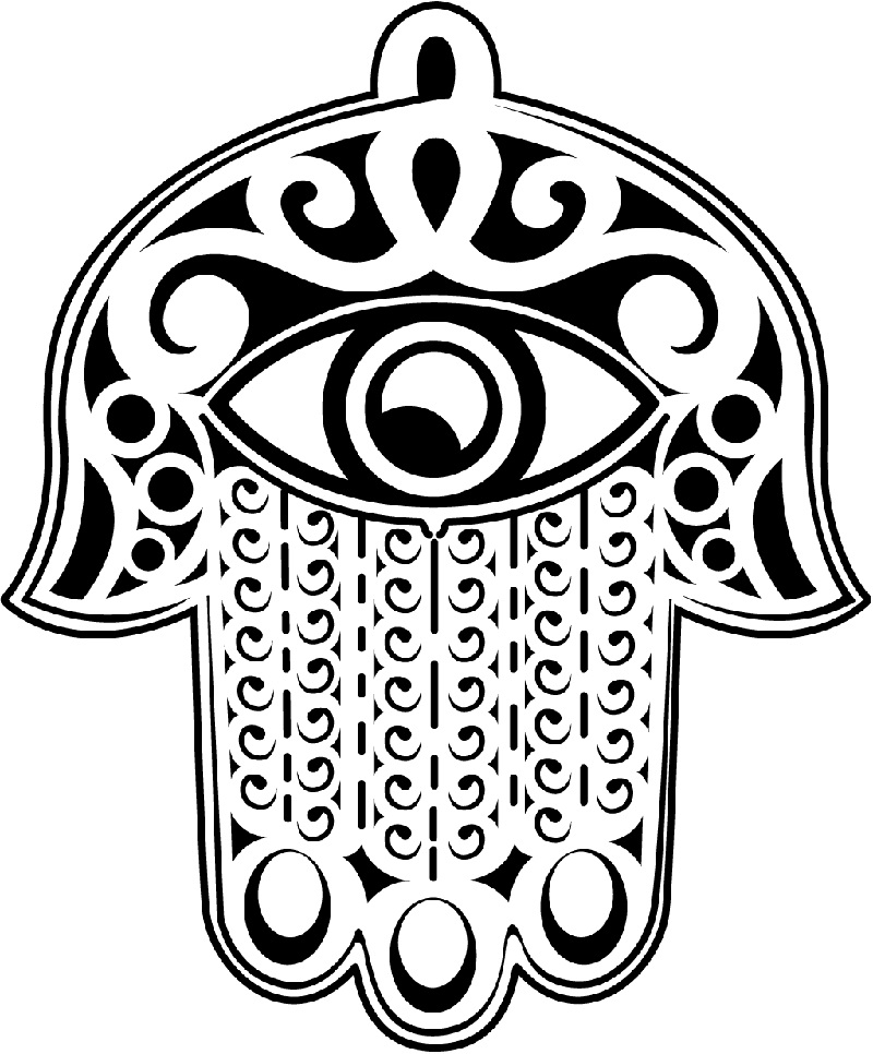 Smile will save the day coloring pages for adults hamsa for Ying yang coloring pages