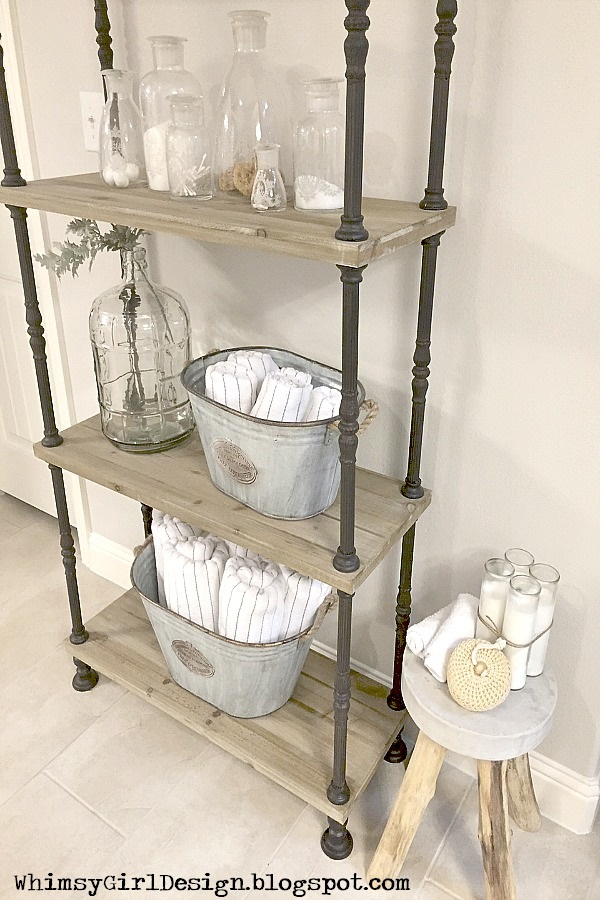 spa towel storage. Our Towels Are Stored In These Galvanized Buckets For Easy Access. I Think This Area Creates A Spa Like Feel. Towel Storage T