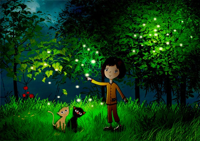 woods-forest-firefly-cat-cartoon