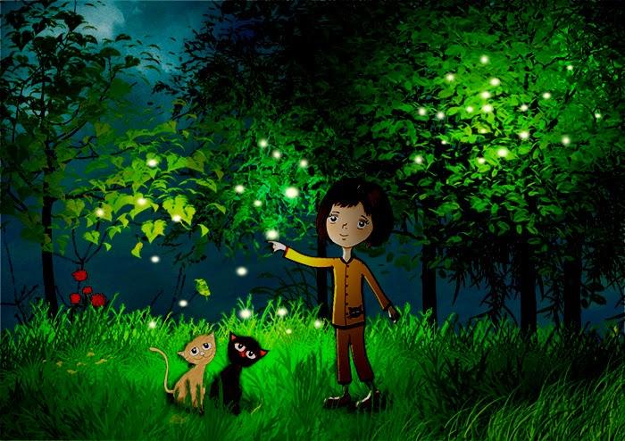 woods-forest-firefly-cat-cartoon