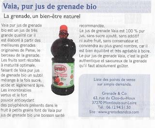Vaia jus de grenade premium bio biocontact n°261 octobre 2015