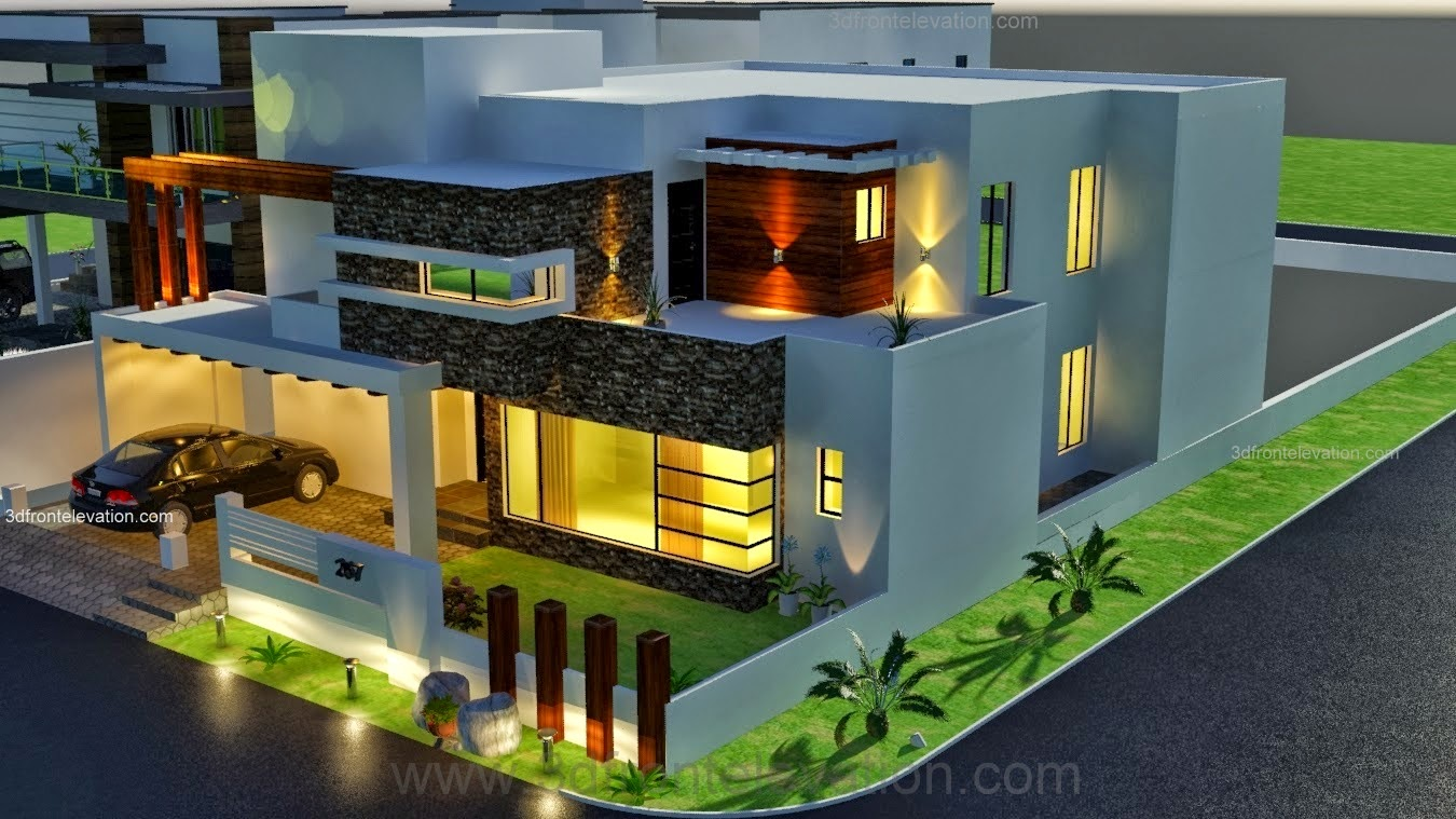 3d front 1 kanal modern contemporary design for One kanal house plan