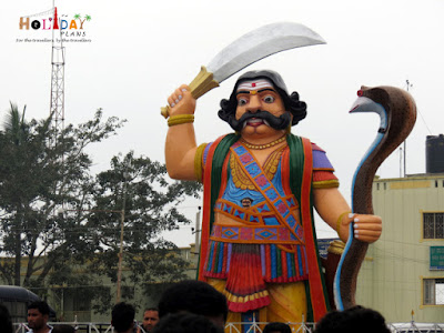 Statue of Mahishasur at the entrance of Chamundeshwari temple