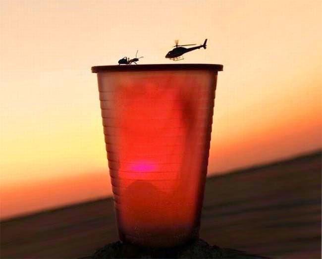 helicoptero aterrizando en vaso