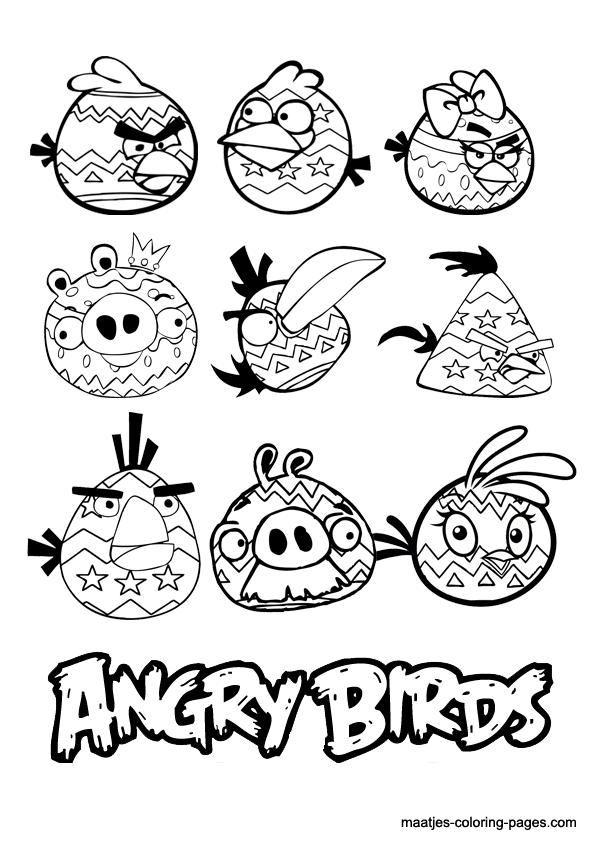 7 Angry Birds Easter Coloring Pages