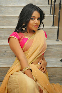 Bhavya Shri in Spicy Cream Saree and Attractive Pink Blouse Spicy Pics