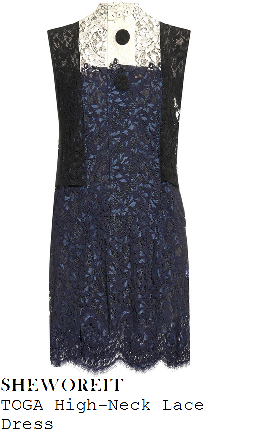 jenna-coleman-navy-cream-black-sleeveless-high-neck-floral-lace-dress