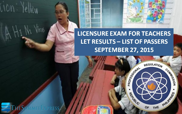 List of Passers: LET Results September 2015 teachers board exam