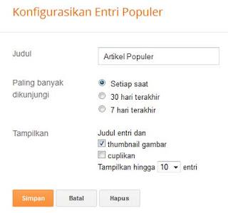 Widget Artikel Populer Ketupat Style di Blog