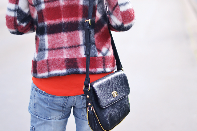 Tartan red, check, jacket, asos basball top, marc b, dylan bag, cross body, street style