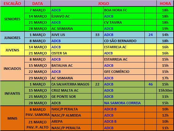 AGENDA - JOGOS OFICIAIS - MARÇO 2015