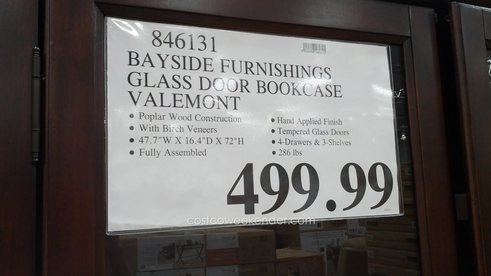 900 #28201C Deal For Bayside Furnishings Valemont Glass Door Bookcase At Costco pic Costco Doors 47611600