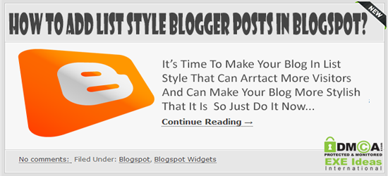 How To Add List Style Blogger Posts In Blogspot?
