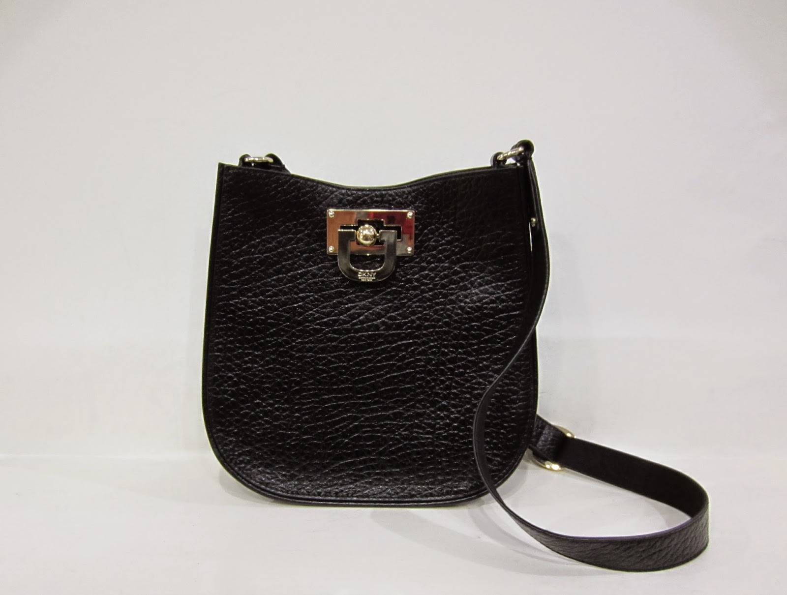DKNY Black Leather Shoulder Bag with Gold Hardware