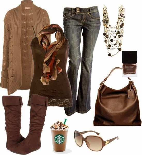 Fashionable brown cardigan, jeans, brown blouse, scarf, handbag and warm shoes for fall