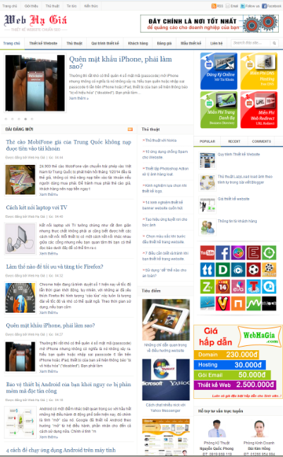 Web hạ giá - Mẫu template blogger tin tức đẹp