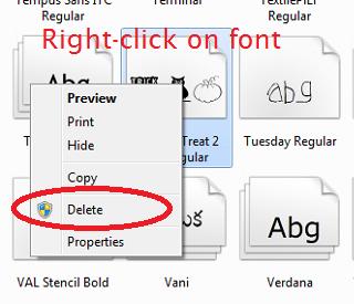 Hướng dẫn xóa Font trong Windows
