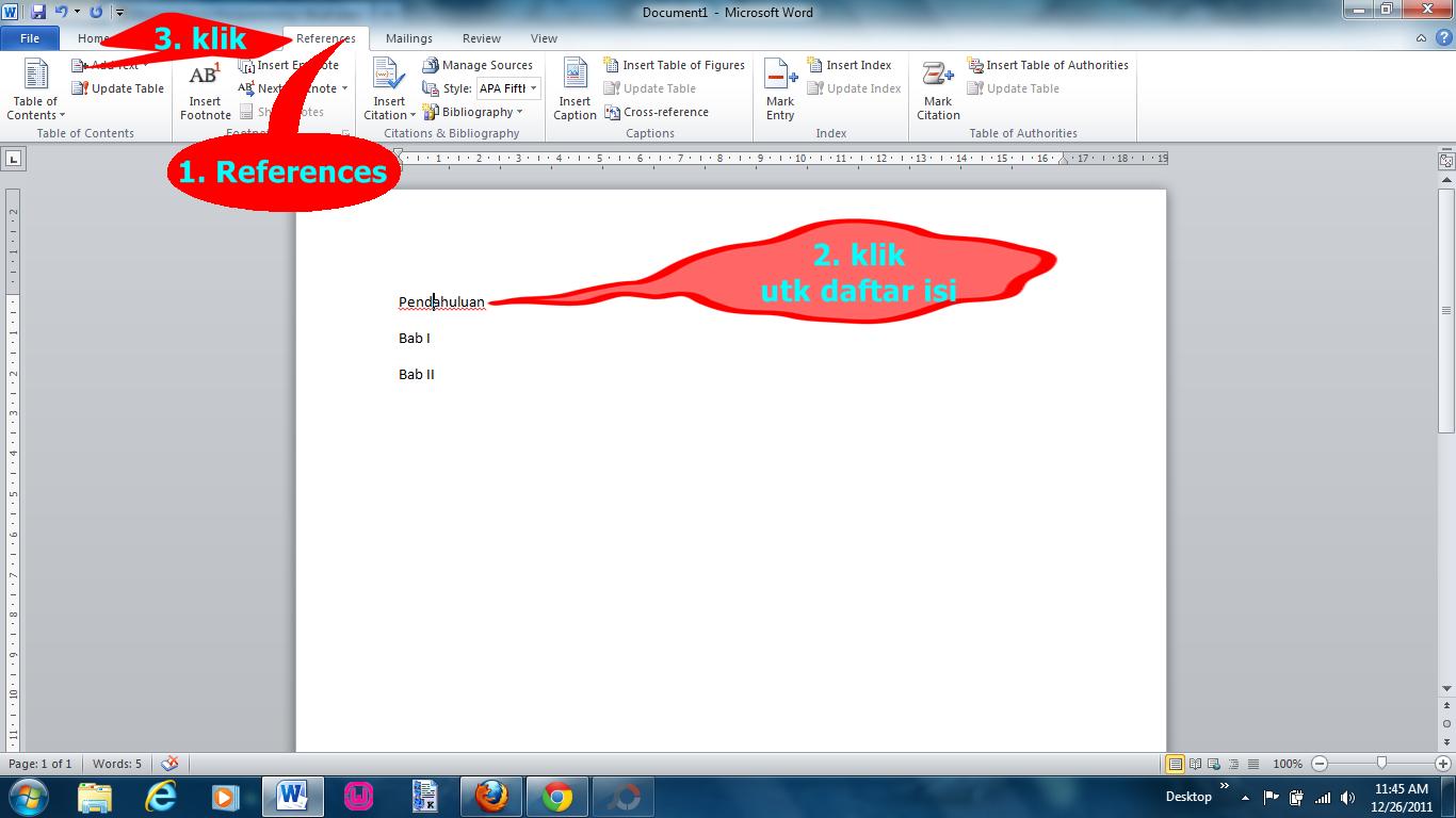 Membuat Daftar Isi Otomatis Di Word 2010 Sunarto S Kom