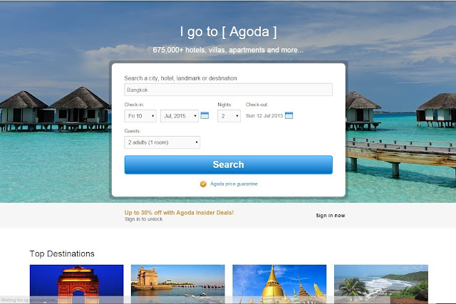 Agoda home page screen