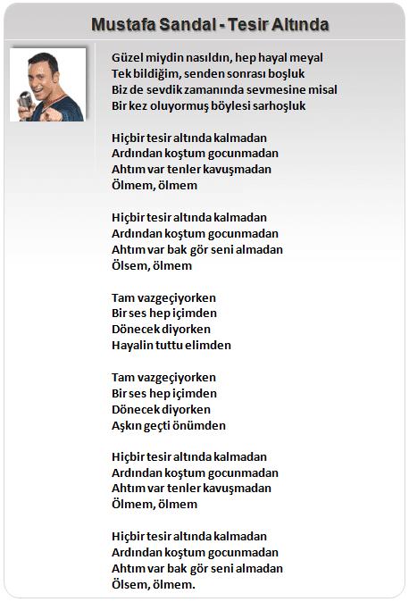 Mustafa Sandal Şarkı Sözleri