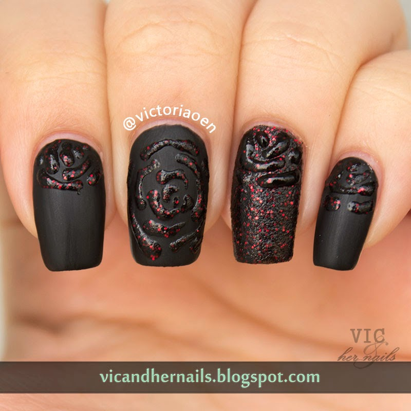 Vic And Her Nails The Digital Dozen Does Texture Day 1 Black Roses