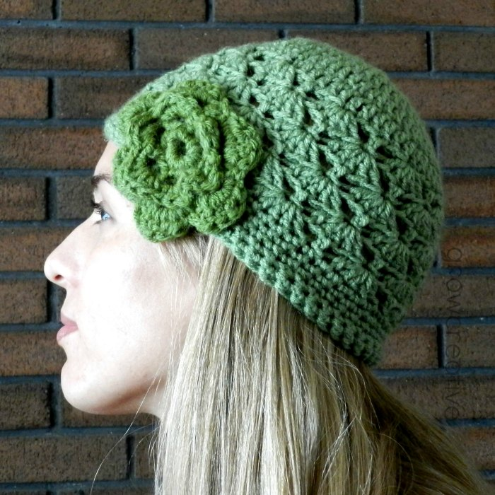 Crochet Shell Beanie Hat Pattern : Grow Creative Blog: Shell Stitch Crochet Hat- Free Pattern