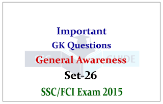 General Awareness Quiz – For SSC CHSL / FCI Exam