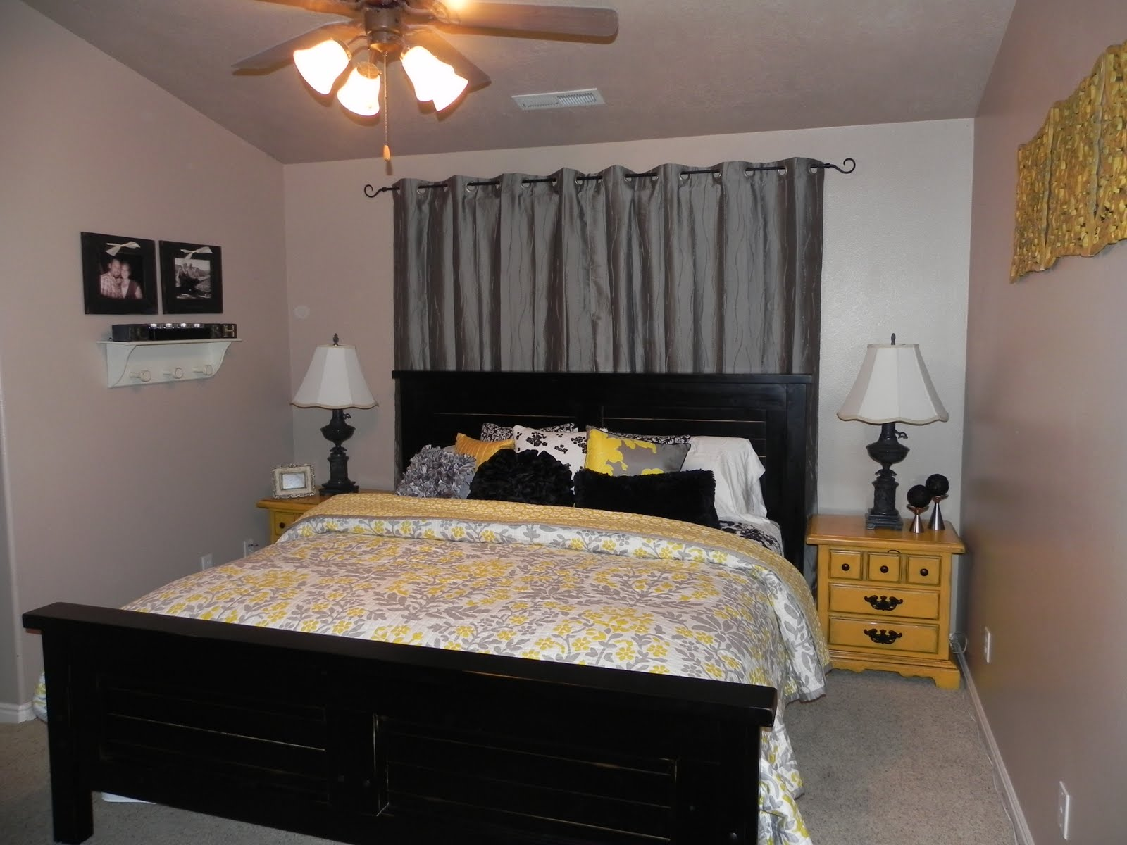 Yellow and gray master bedroom by chelsea feature friday - Black and yellow bedroom decor ...