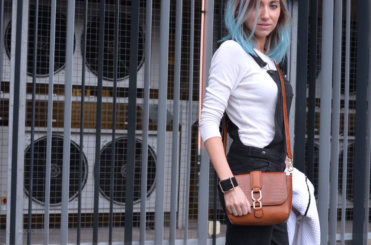Black Topshop Dungarees on Rock On Holly Blog
