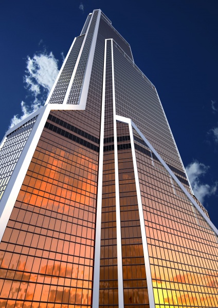 Rendering of sunset reflection on the lower floors of Mercury City Tower