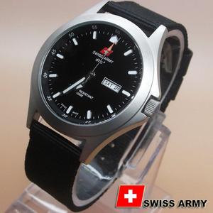 Jam Tangan Pria Keren Hitam Silver Swiss Army 1880