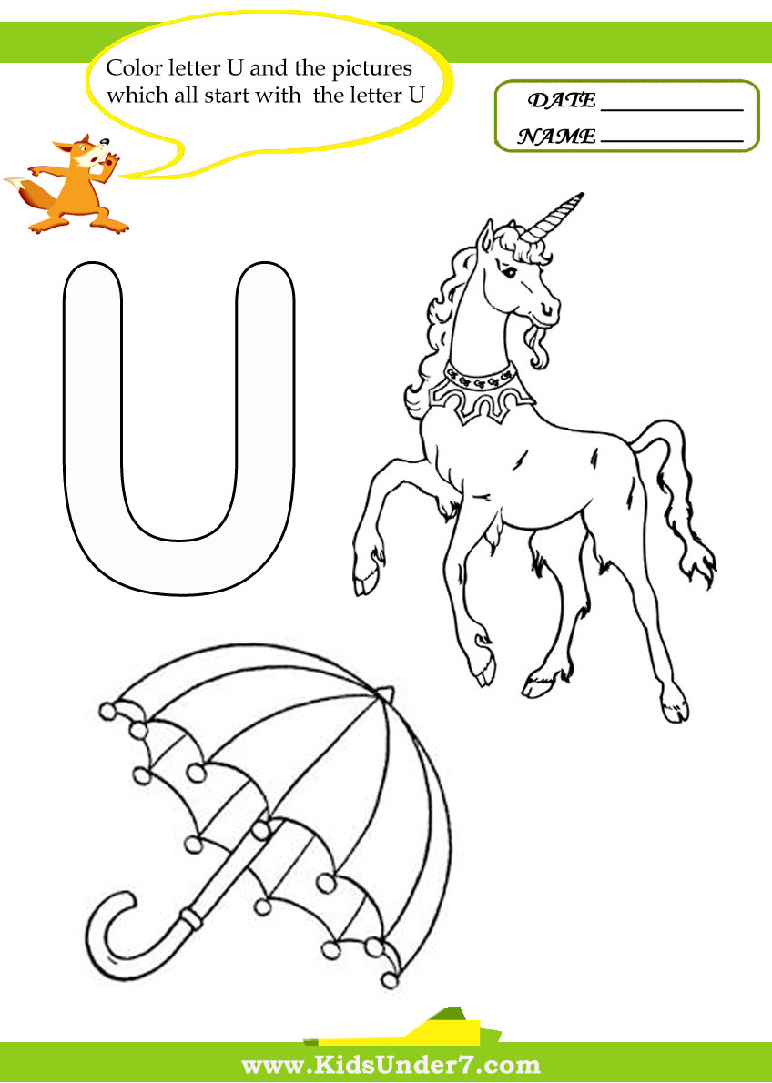 Objects Start with Letter U http://www.kidsunder7.com/2011/12/letter-u-worksheets-and-coloring-pages.html