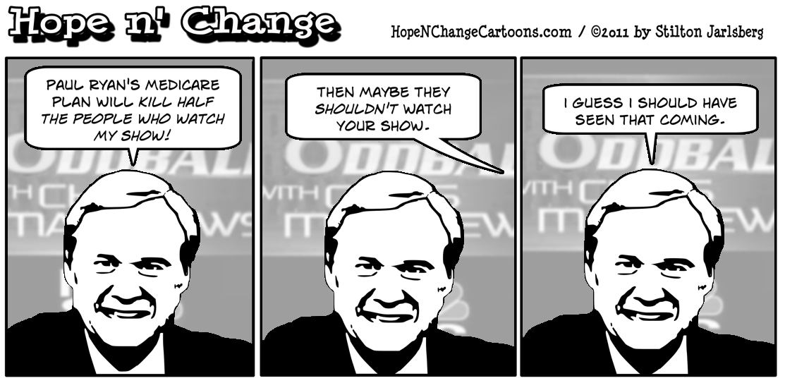 Chris Matthews claims that Paul Ryan's Medicare plan would kill half of his audience, hope n' change, hopenchange, hope and change, stilton jarlsberg