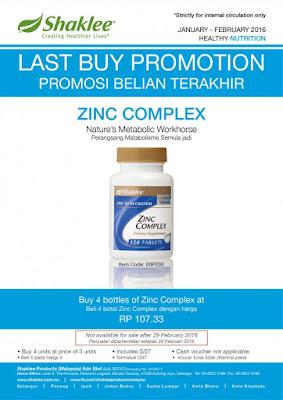 Promosi Shaklee Januari 2016 Zinc Complex