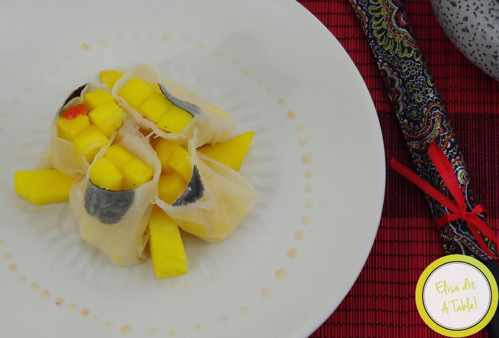 Rouleaux de printemps à la mangue et sauce piquante!