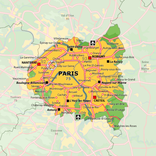 Carte De France. Carte de Nanterre Route