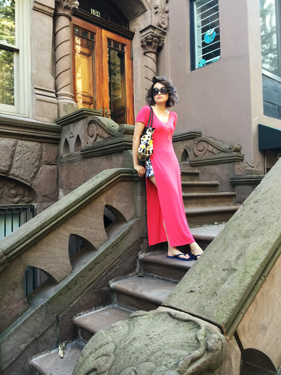 Vancouver fashion blogger, pink tshirt dress, longchamp tote