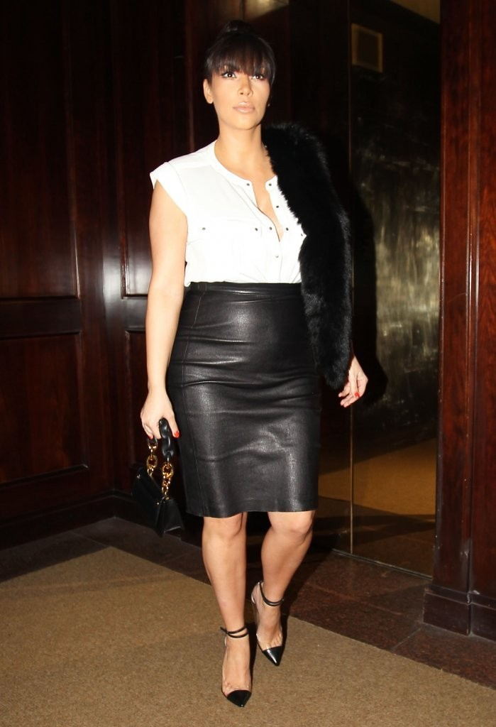 Kim Kardashian Black Tight Leather Pencil Skirt in Beverly Hills ...