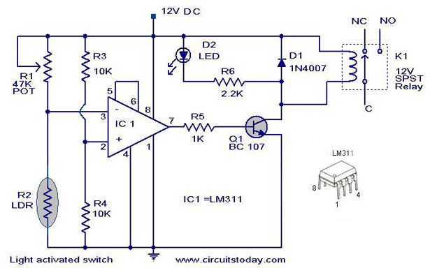 Circuit wiring how to make a light activated day night switch light activated switch circuit diagram with parts list asfbconference2016 Images