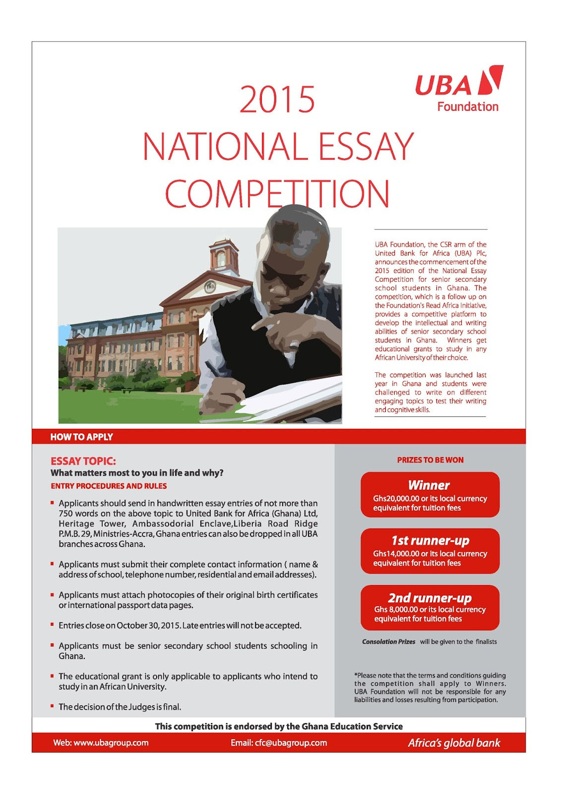students submit entries for uba foundation essay competition the hand written essays can be sent to any of the uba business offices in any of the three countries where the essay competition is being held