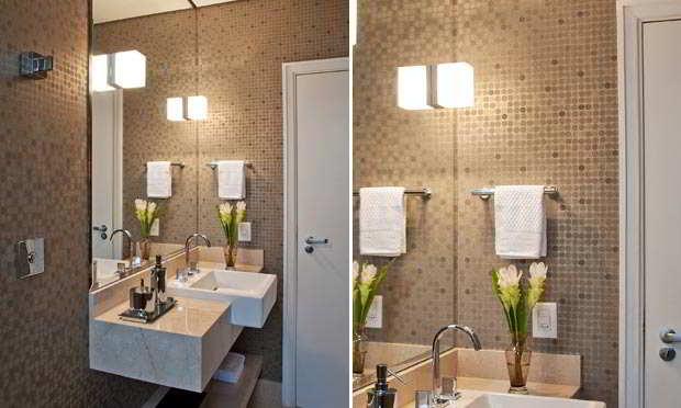 Banheiros com pastilhas  37 modelos decorados  Decor Alternativa -> Banheiro Decorado Com Pastilhas Marrom