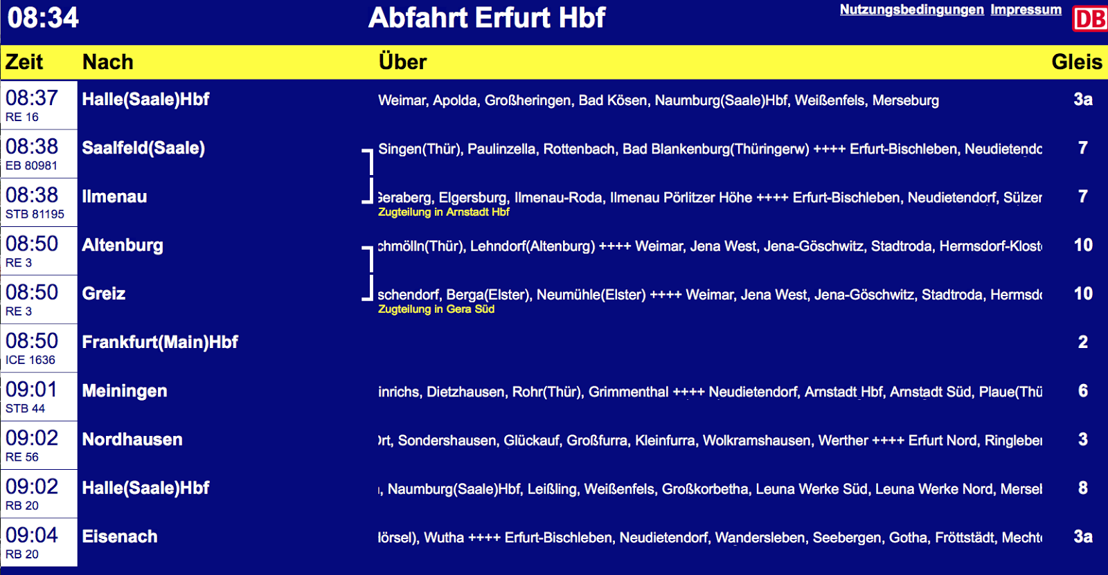 Abfahrt am Erfurter Hauptbahnhof - Live- anzeige