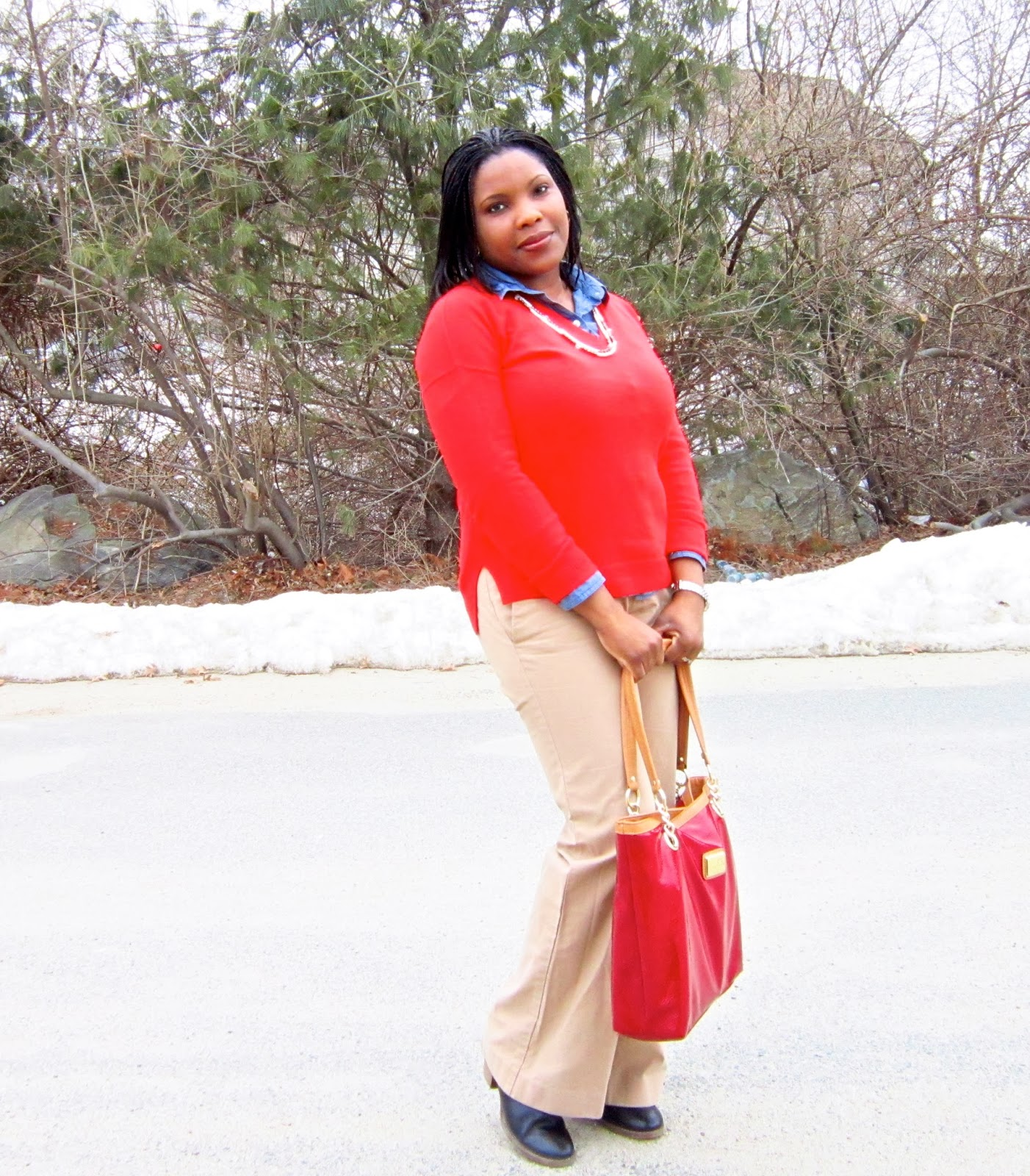 layering a chambray shirt, Gap Sweater, Macy's Marc Fisher tote, DSW Crown Vintage Booties