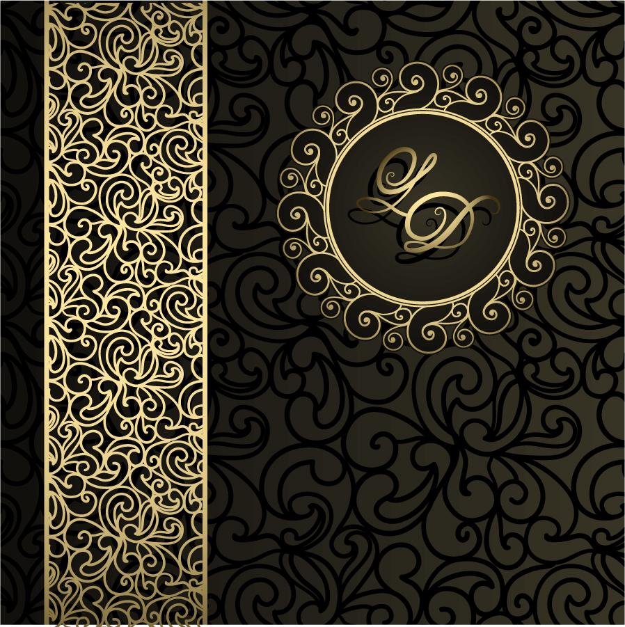 グレーを基調にした金のレース柄背景 gray European pattern background イラスト素材