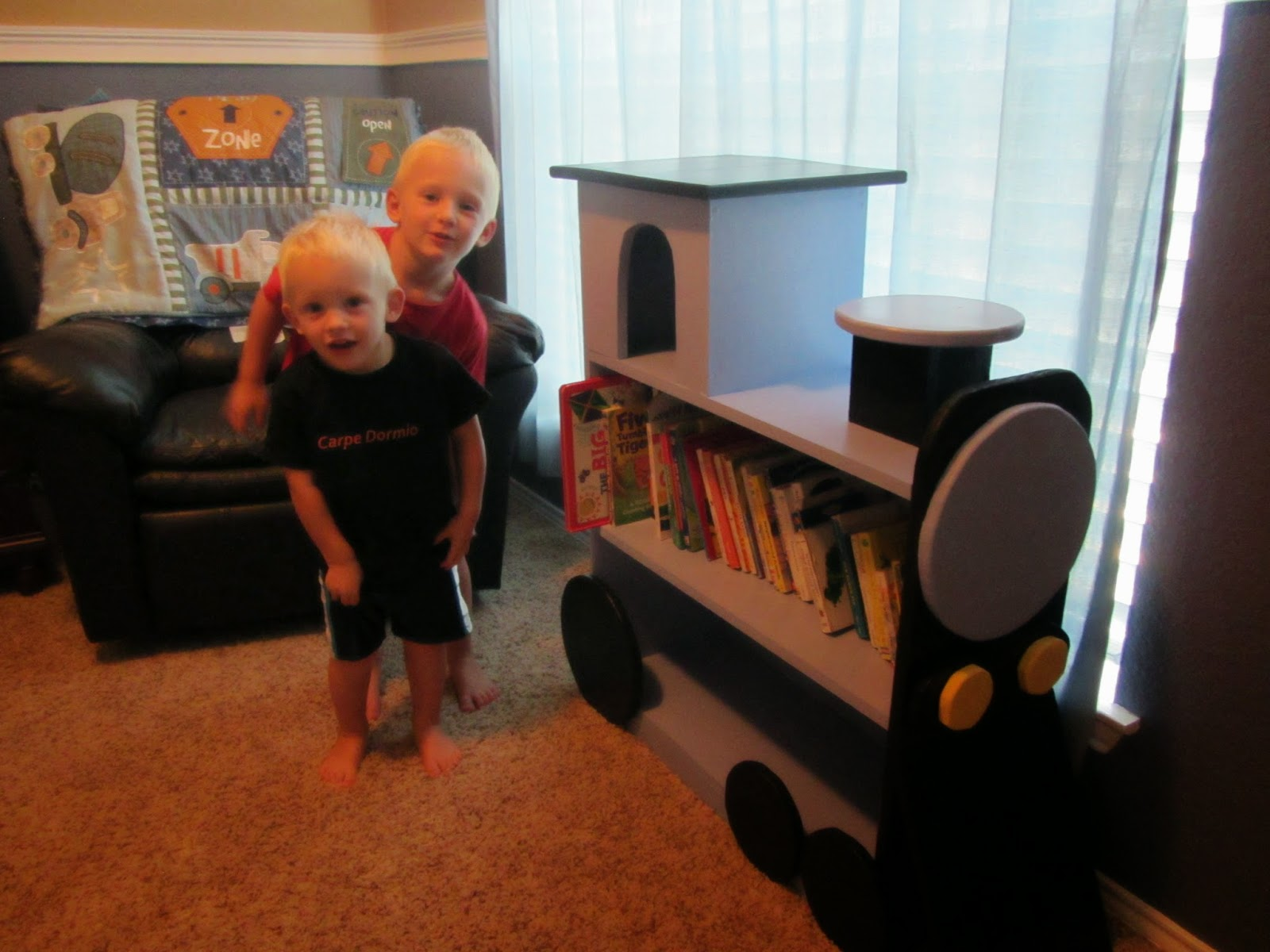 I Told Autrey Wanted A Plain Bookshelf To Replace One That Was Too Small And Falling Apart So He Made Train The Boys LOVE