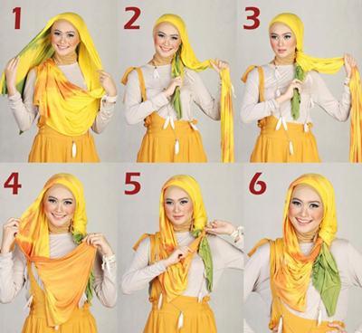 cara memakai jilbab shawl terbaru