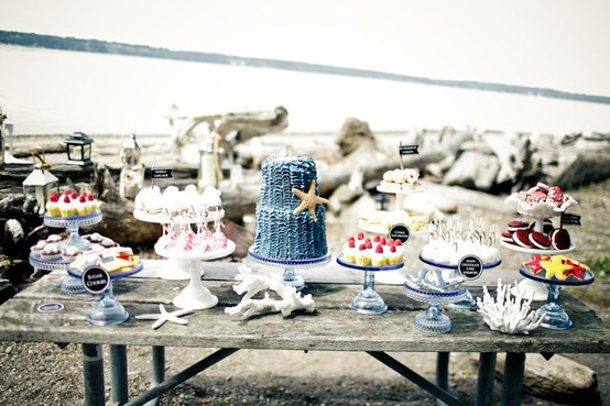 Greer Loves: Nautical Wedding Ideas: Dessert Tables