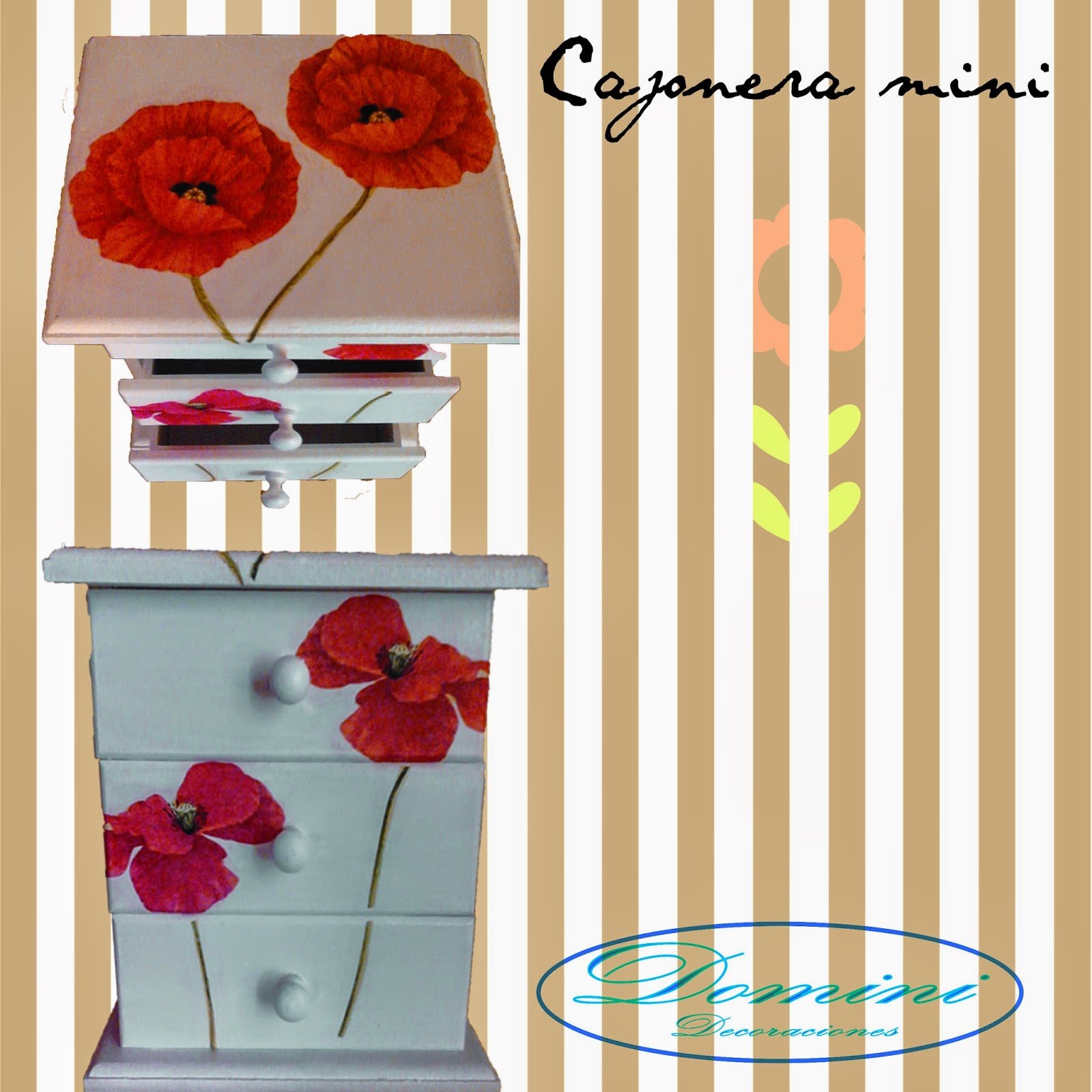 Cajoneras mini decoradas domini decoraciones - Cajoneras decoradas ...