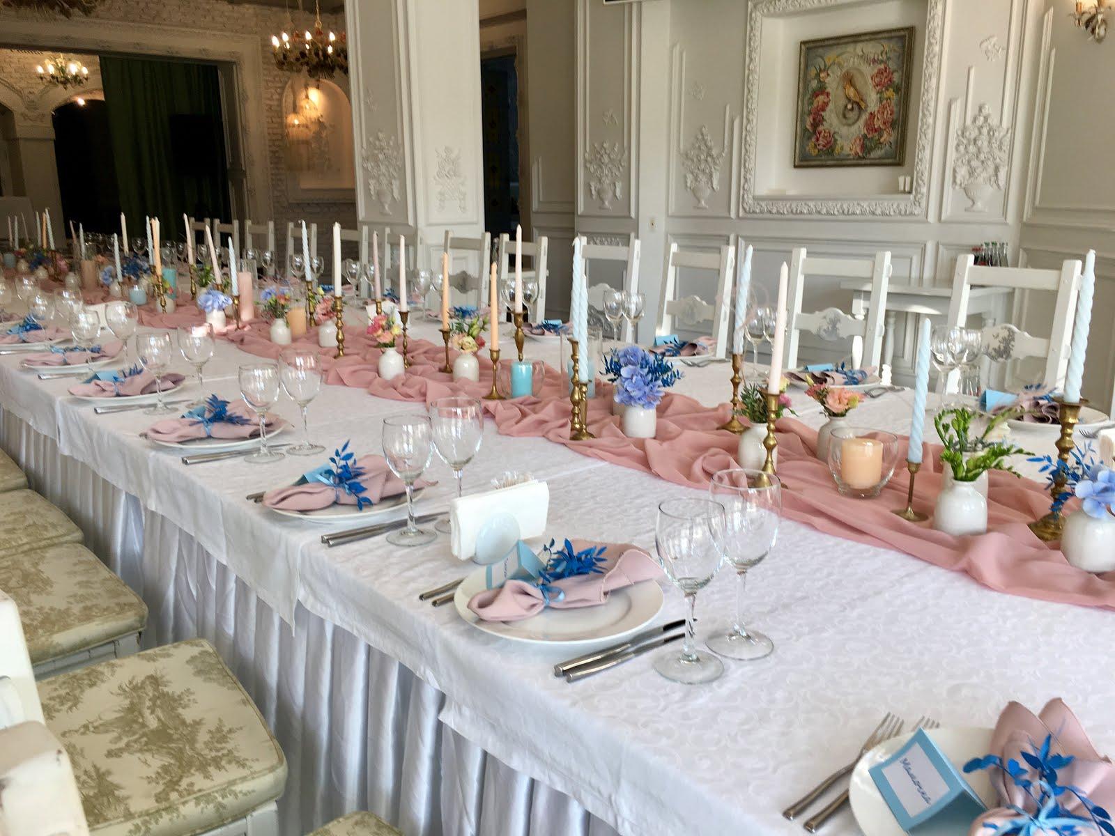 Голубой, Dusty Pink в оформлении свадьбы в Подкове